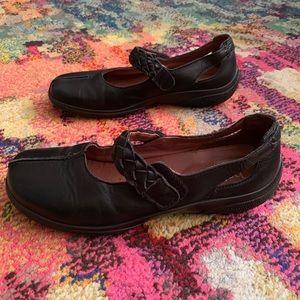 Hotter Black Mary Jane Leather Shoes US 8